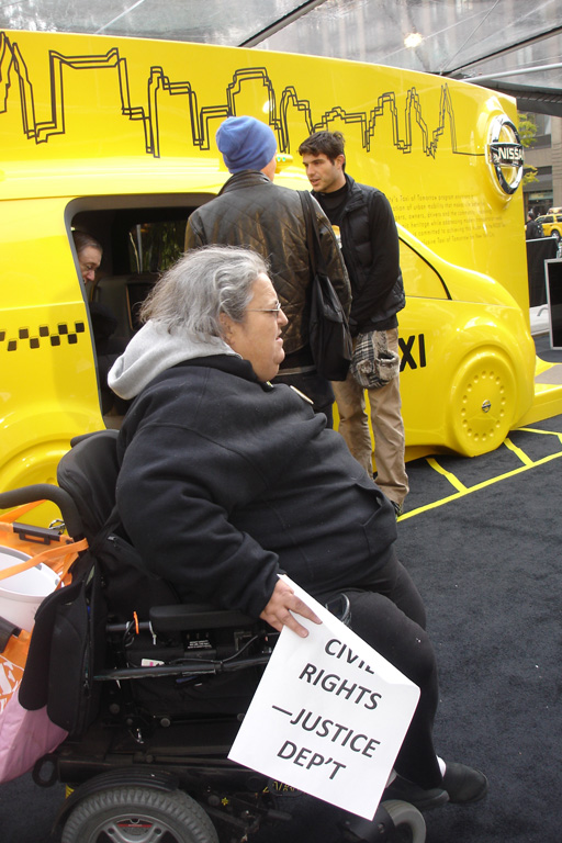 photo of Edith Prentiss at Taxi of Tomorrow display